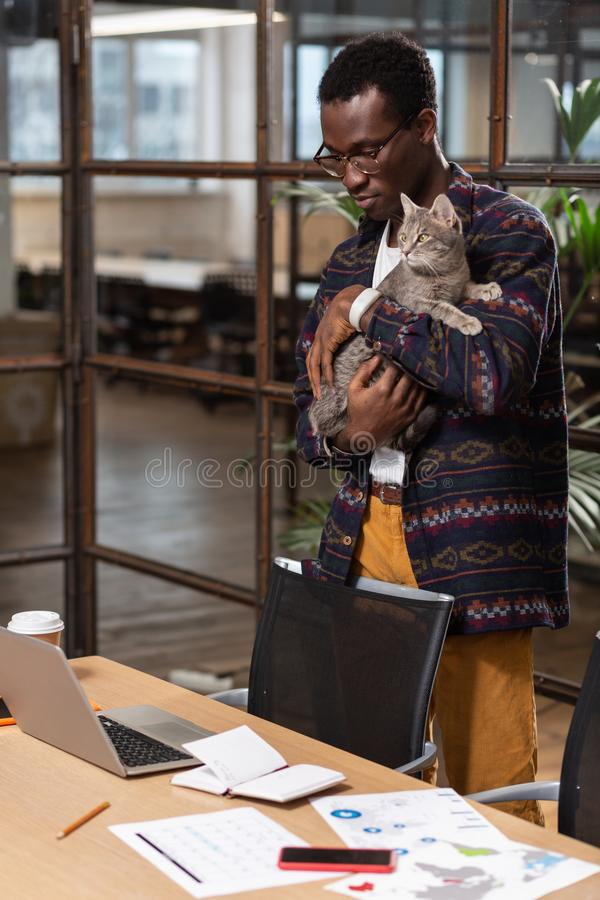 Homme tenant un chat dans des ses mains sur son lieu de travail photo stock