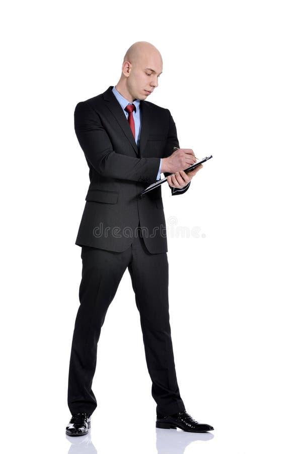 Homme tenant un dossier photo stock