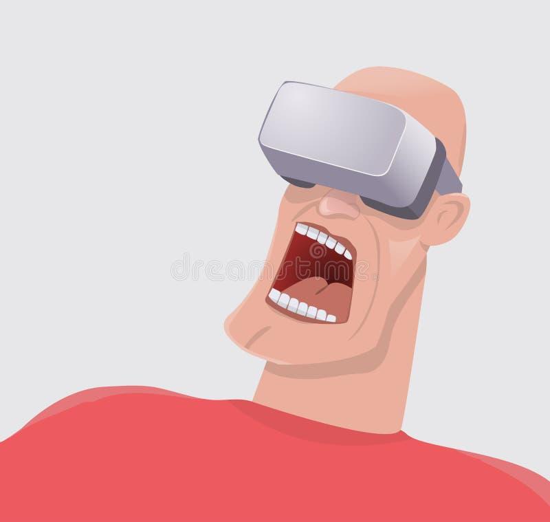 Homme terrifié par réalité virtuelle illustration stock