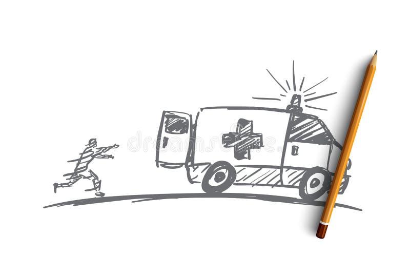Homme tiré par la main essayant de rattraper voiture d'ambulance illustration de vecteur