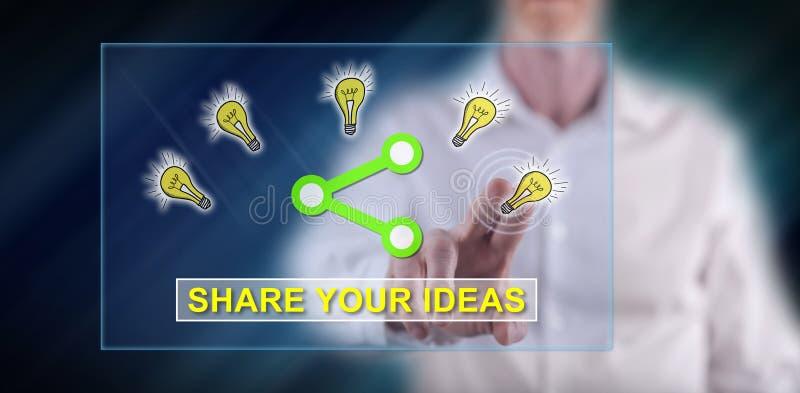 Homme touchant des idées partageant le concept image libre de droits