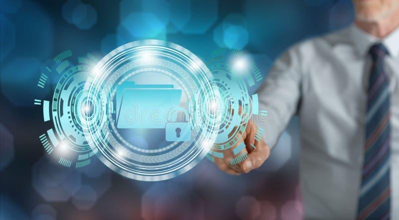 Homme touchant le concept de protection des données images libres de droits