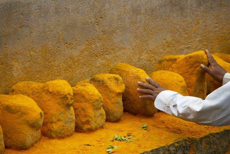 Homme touchant les pierres colorées par safran, maharashtra, Inde photos stock