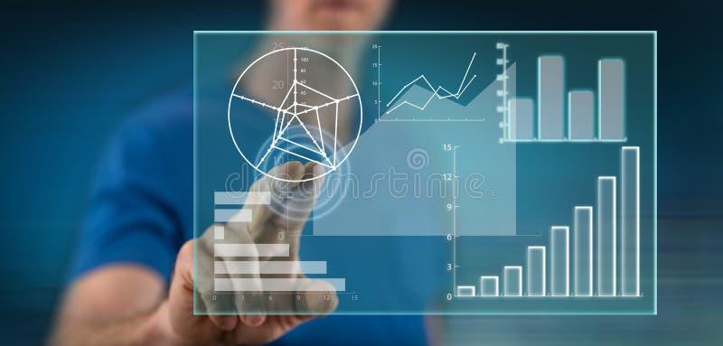 Homme touchant un concept d'analyse de données image stock