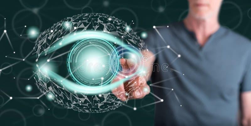Homme touchant un concept numérique d'oeil illustration de vecteur