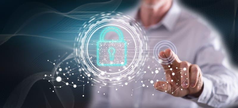 Homme touchant un concept numérique de sécurité illustration libre de droits