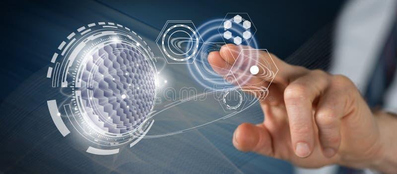 Homme touchant un concept virtuel de technologie image libre de droits
