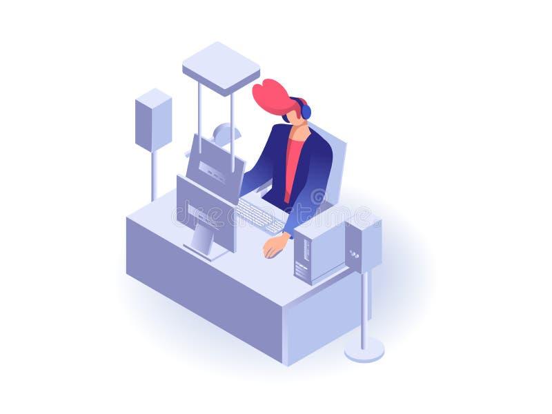 Homme travaillant à l'ordinateur illustration libre de droits