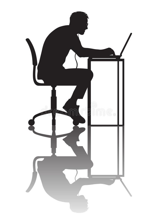 Homme travaillant à l'ordinateur Silhouette avec la réflexion Vecteur illustration de vecteur