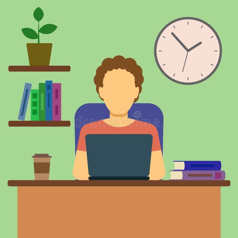 Homme travaillant à la maison le concept illustration de vecteur