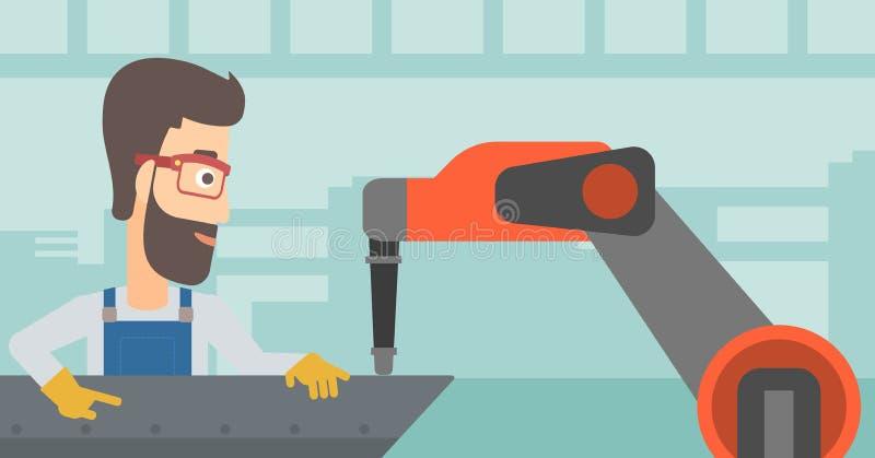 Homme travaillant au bras robotique de soudure industrielle illustration de vecteur