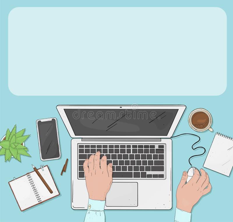 Homme travaillant sur un ordinateur portatif Mains sur le clavier et la souris d'ordinateur illustration stock
