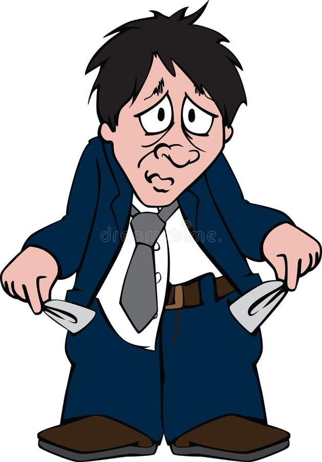 Homme triste avec les poches vides illustration de vecteur