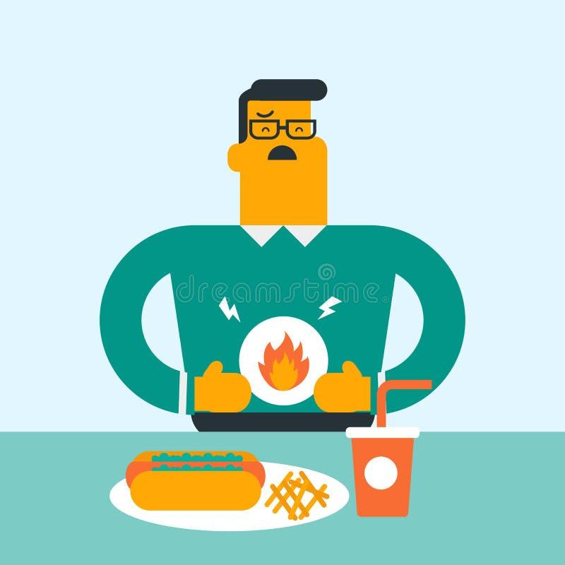 Homme triste caucasien souffrant de la brûlure d'estomac illustration stock