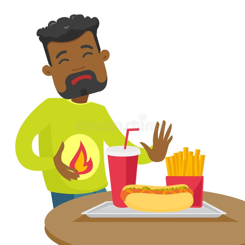 Homme triste d'afro-américain souffrant de la brûlure d'estomac illustration libre de droits