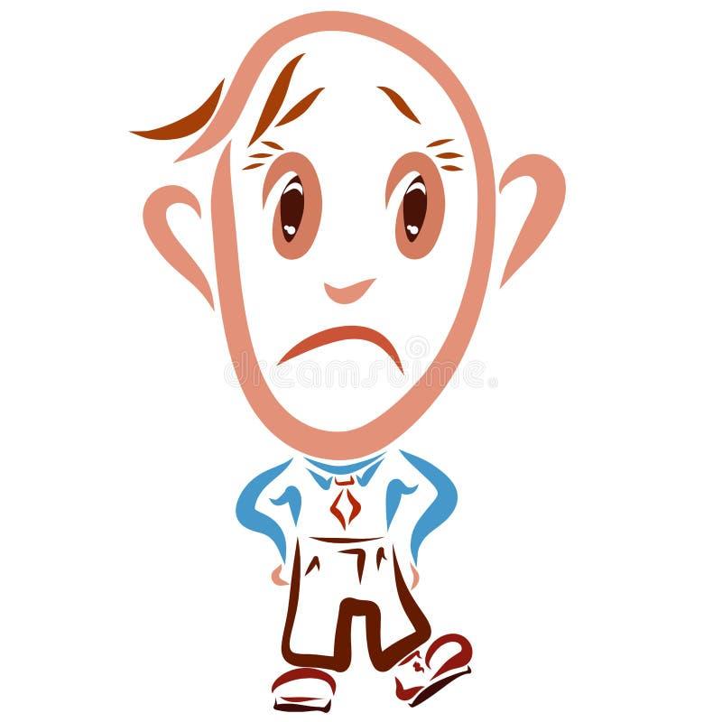 Homme triste drôle, émotions, employé de bureau illustration stock