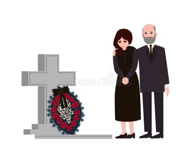 Homme triste et femme habillés dans des vêtements de deuil se tenant près de la tombe avec la pierre tombale et la guirlande Pers illustration libre de droits