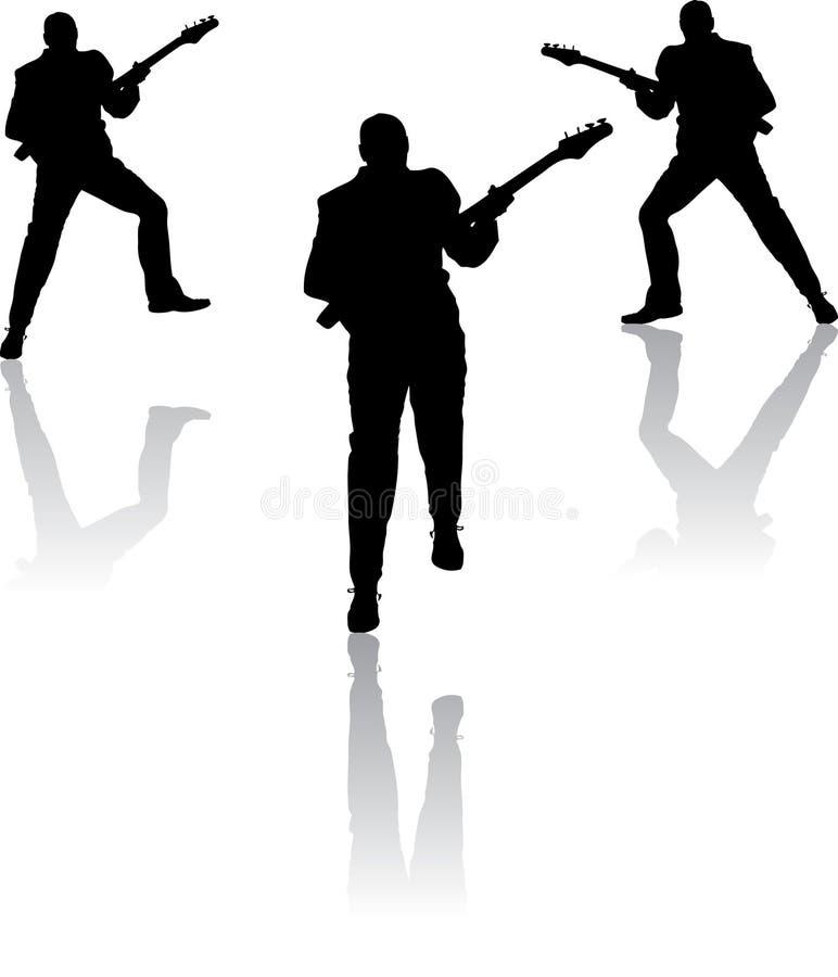 Homme trois avec la guitare - vecteur illustration de vecteur