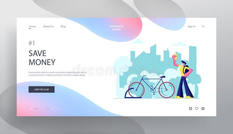 Homme utilisant l'appli de Smartphone pour le service de loyer de vélo recherchant dans la grande ville Déplacement de touristes, illustration libre de droits