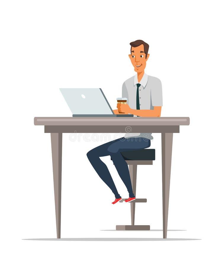 Homme utilisant l'ordinateur portable et l'illustration potable de café illustration stock