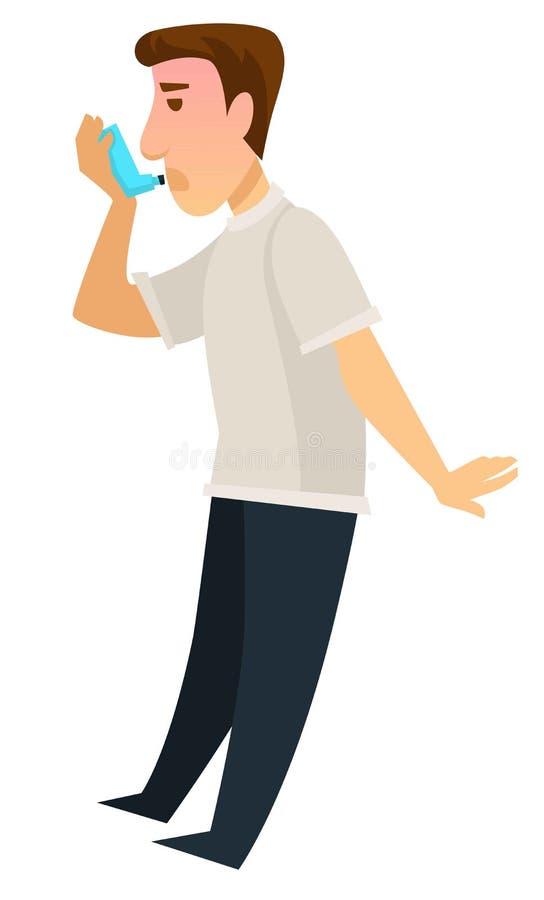 Homme utilisant le dispositif d'inhalateur pour la récupération de l'asthme illustration de vecteur