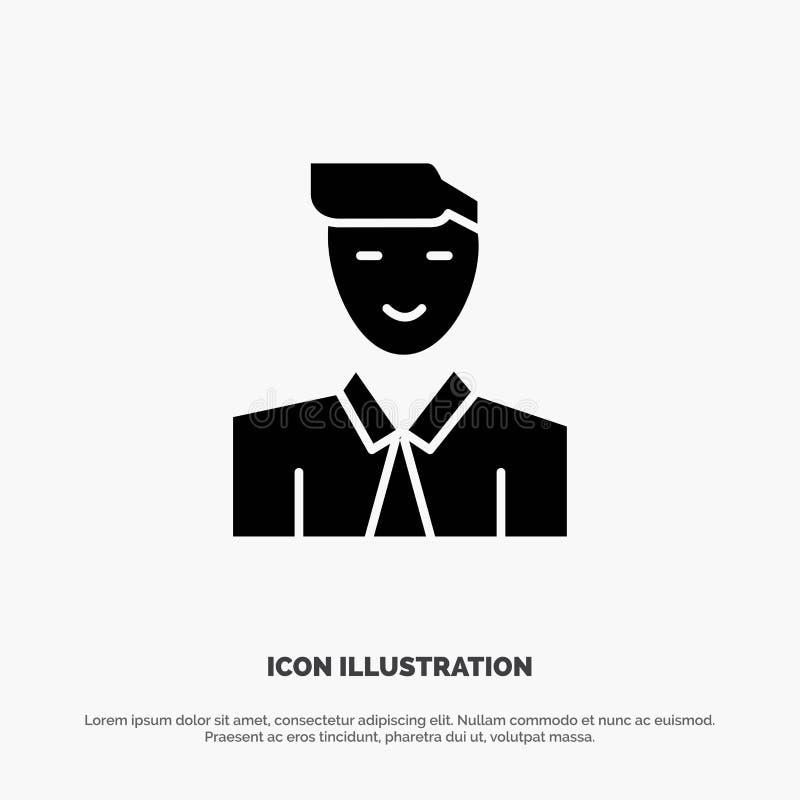 Homme, utilisateur, étudiant, professeur, vecteur solide d'icône de Glyph d'avatar illustration libre de droits