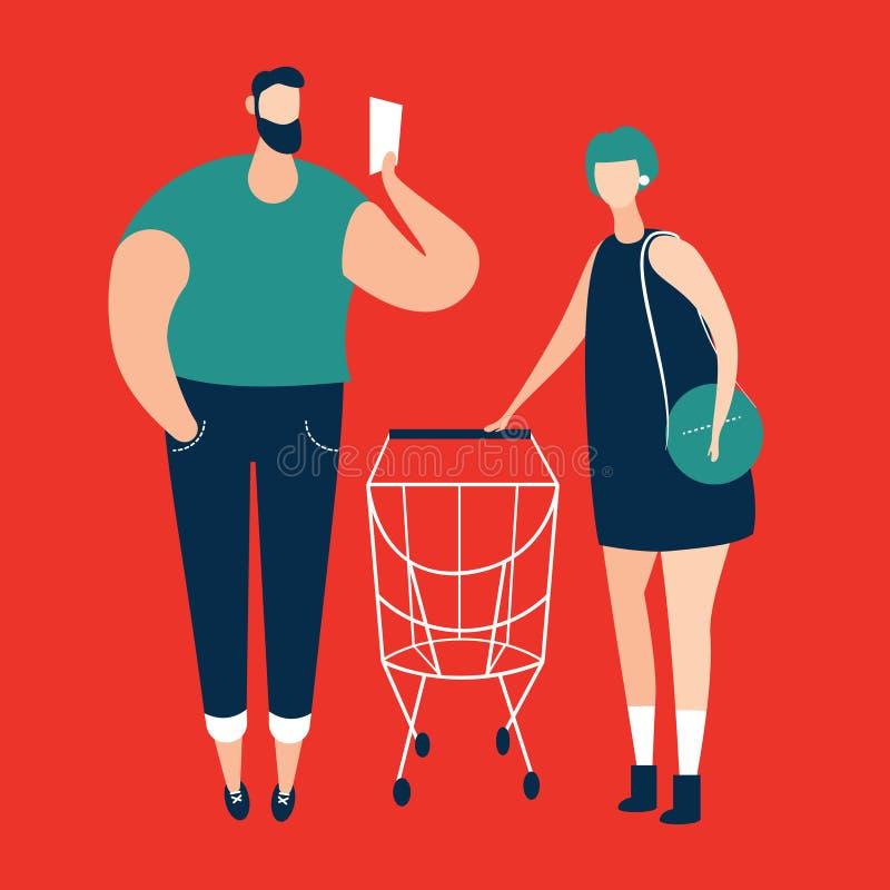 Homme vérifiant la liste d'achats et femmes portant le chariot de achat au supermarché illustration de vecteur