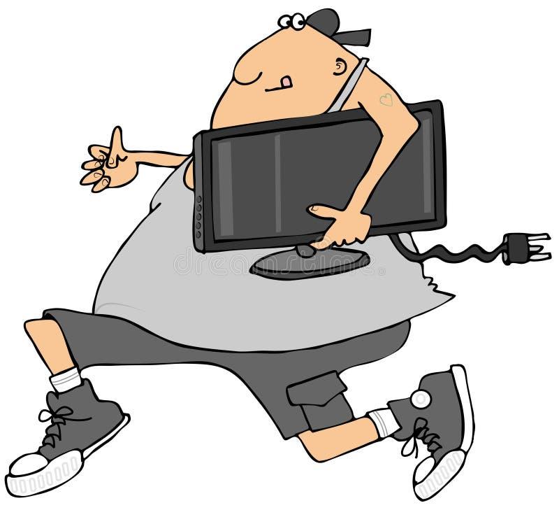 Homme volant une TV illustration stock