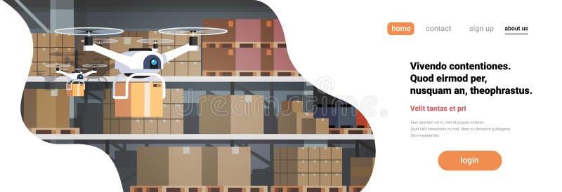 Hommel die de moderne van het de technologieconcept van de pakhuis binnenlandse geavanceerde robotica vlakte van de de leveringsk stock illustratie