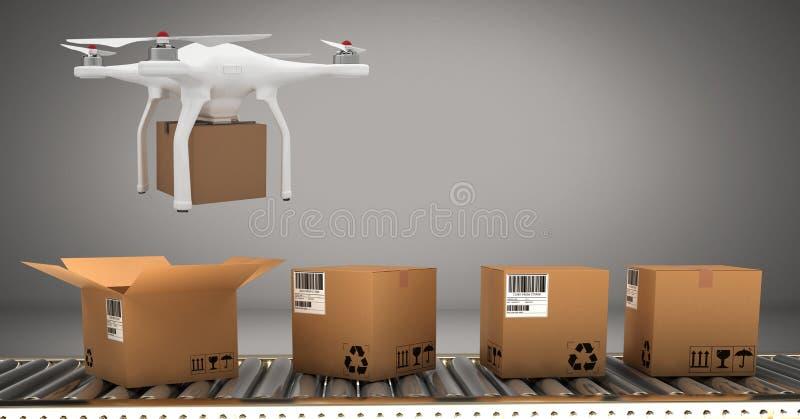 Hommel die door transportband met de dozen van het leveringspakket vliegen stock illustratie