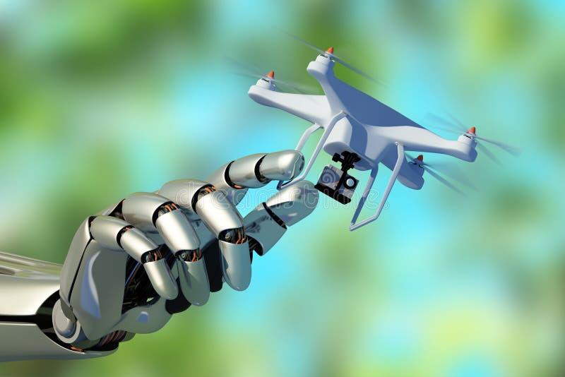 Hommel en Cyborg royalty-vrije illustratie
