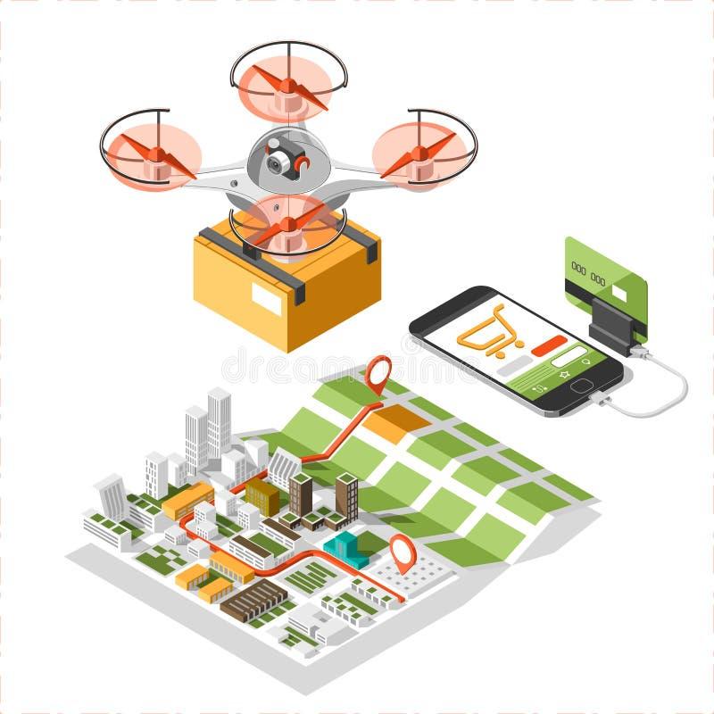 Hommel met een doos die in de hemel vliegen Moderne levering van het pakket door te vliegen quadcopter royalty-vrije illustratie
