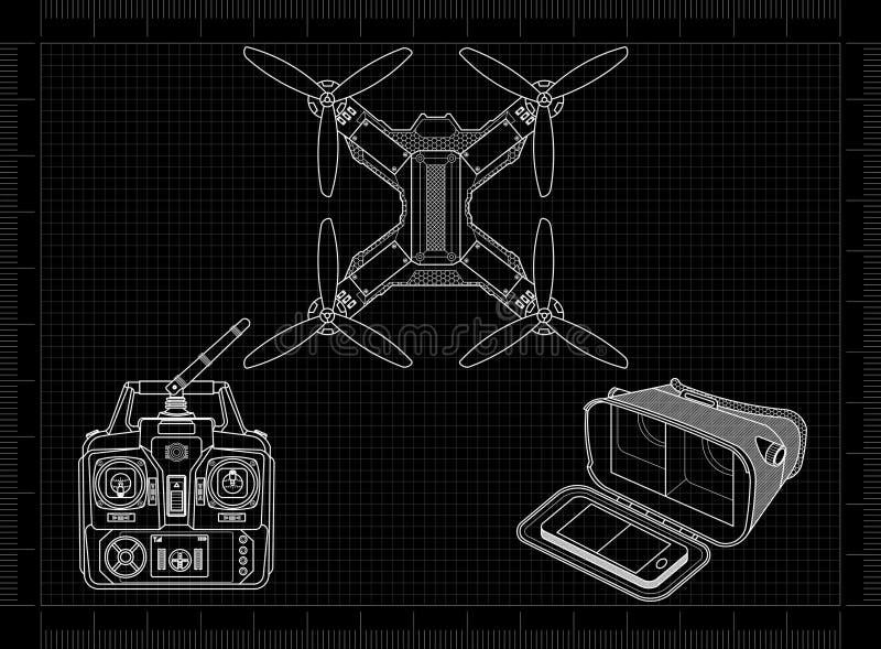 Hommel met VR-toestel stock illustratie