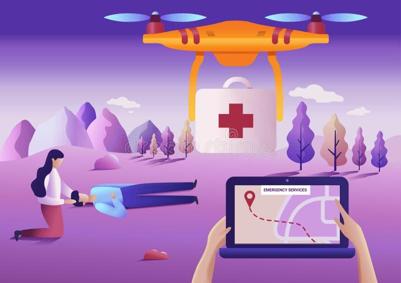 Hommel of quadcopter medisch hulpdienstconcept Vector illustratie Hommelvlieg over het landschap en het leveren van ziekenwagen royalty-vrije illustratie