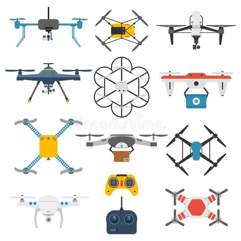 Hommel quadcopter vectorreeks stock illustratie