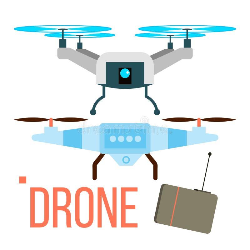 Hommelvector Verre Luchtquadcopter Foto, Video, Levering Geïsoleerde vlakke beeldverhaalillustratie royalty-vrije illustratie
