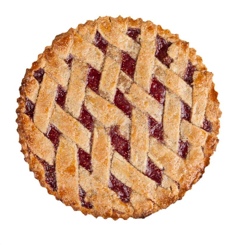 Hommemade crust pie. Hommemade crostata isolated on white royalty free stock image