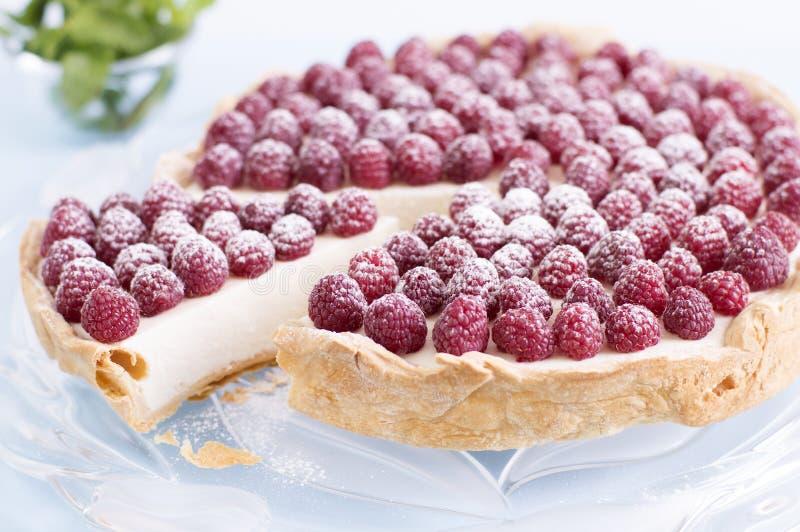 Hommemade raspberry cheesecake. Ingredients: puff pastry, mascarpone, sugar, gelatin and raspberries royalty free stock image