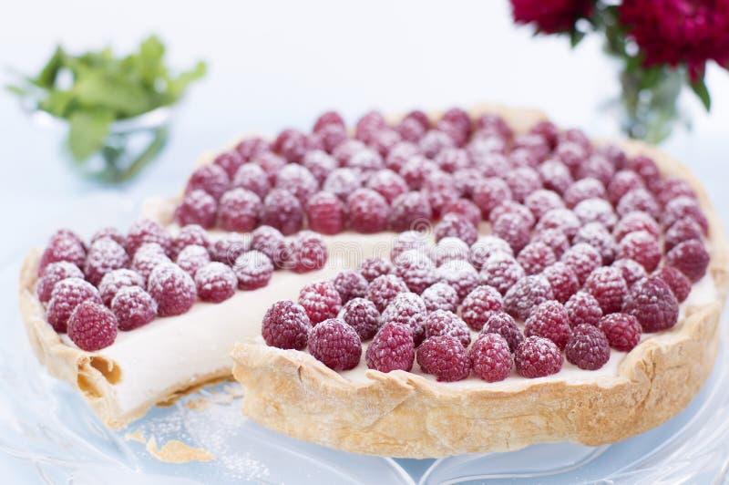 Hommemade raspberry cheesecake. Ingredients: puff pastry, mascarpone, sugar, gelatin and raspberries stock photography