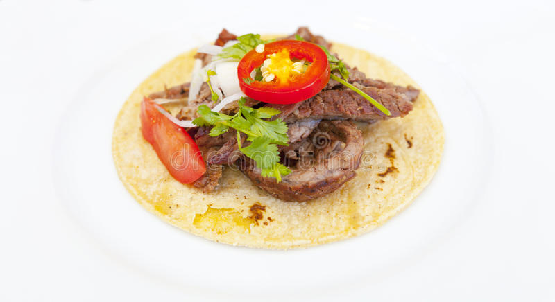Hommemade Taco. On white plate stock photography