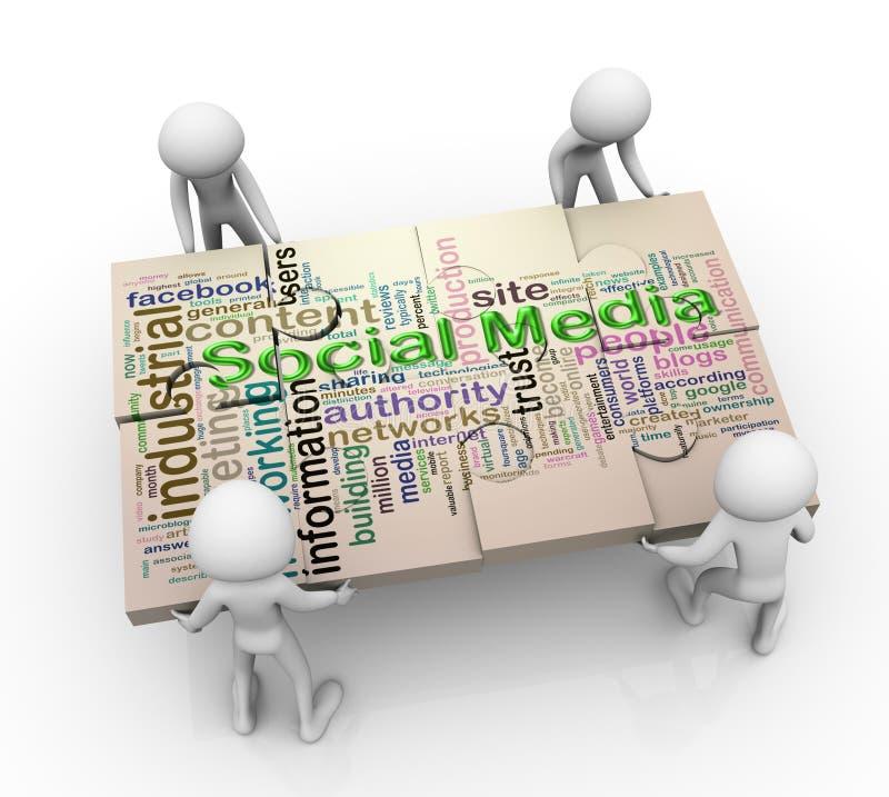 hommes 3d et peaces sociaux de puzzle de medias illustration libre de droits