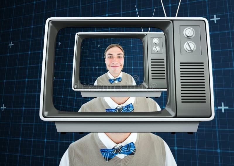 Hommes anormaux heureux avec la tête de TV photos stock