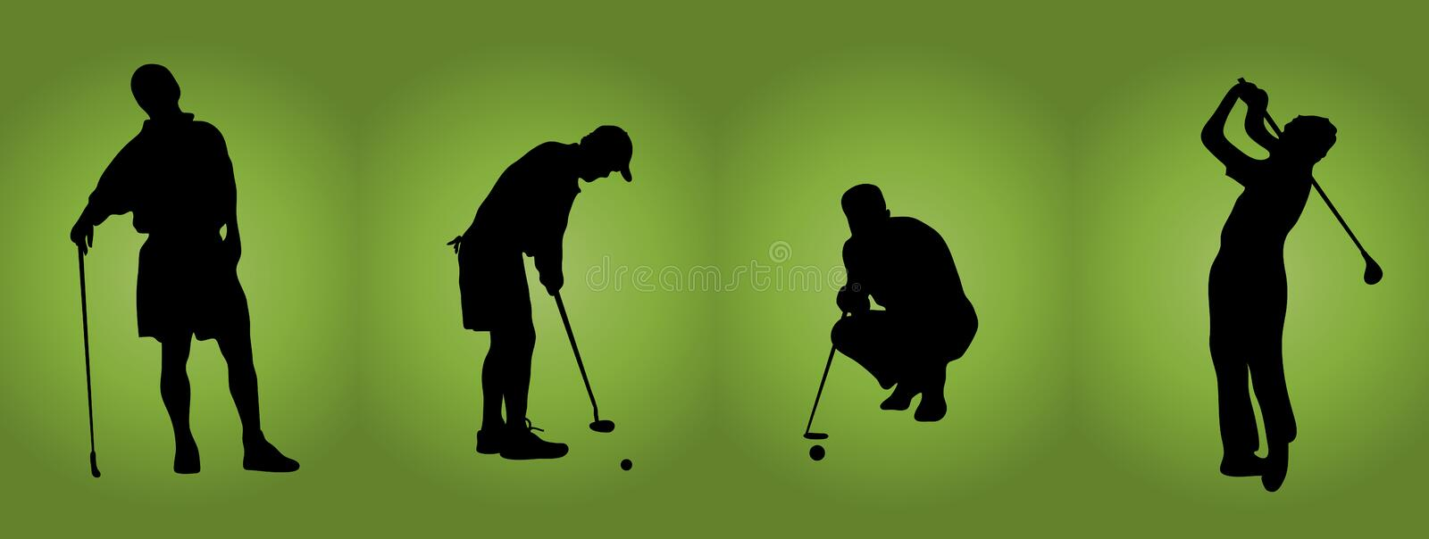 Hommes au golf illustration stock