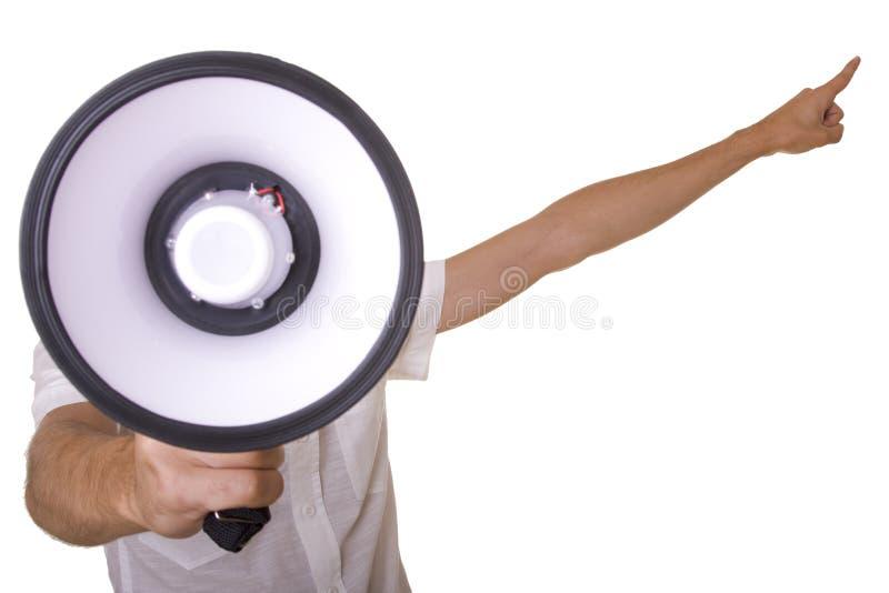Hommes au mégaphone photo libre de droits