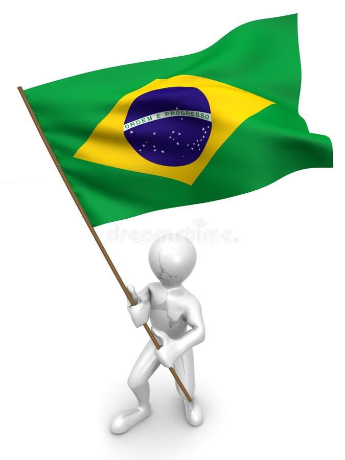 Hommes avec l'indicateur. Le Brésil illustration stock
