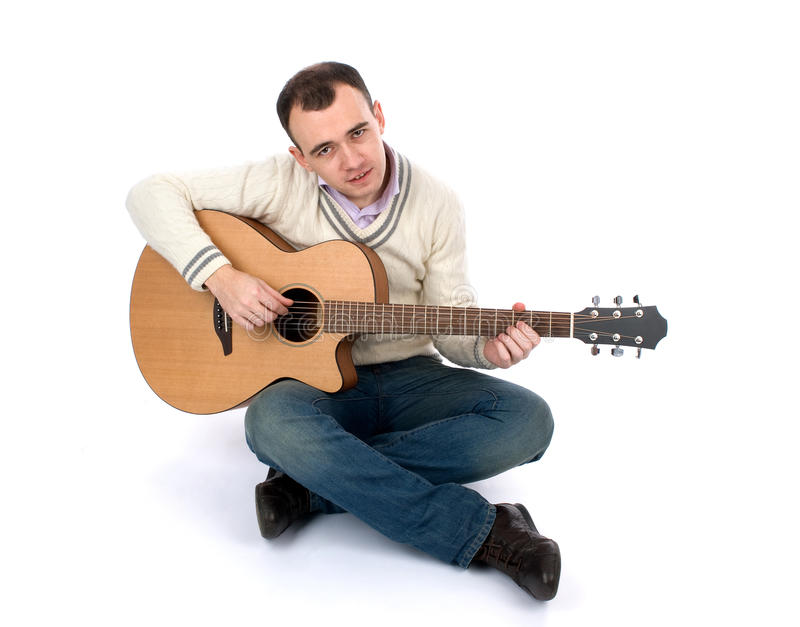 Hommes avec la guitare photographie stock