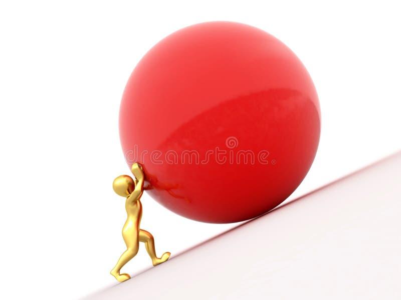 Hommes avec la sphère sur le fond d'isolement blanc illustration de vecteur