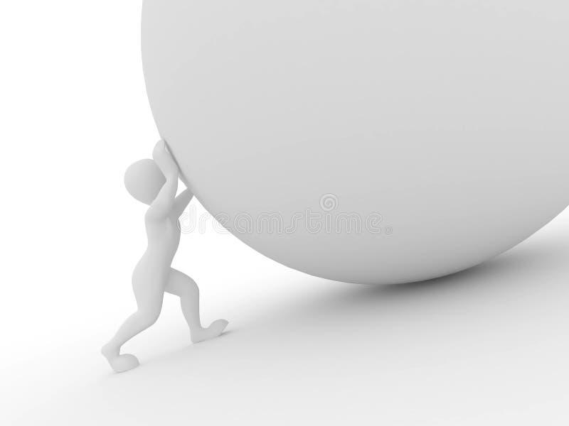 Hommes avec la sphère sur le fond d'isolement blanc illustration libre de droits