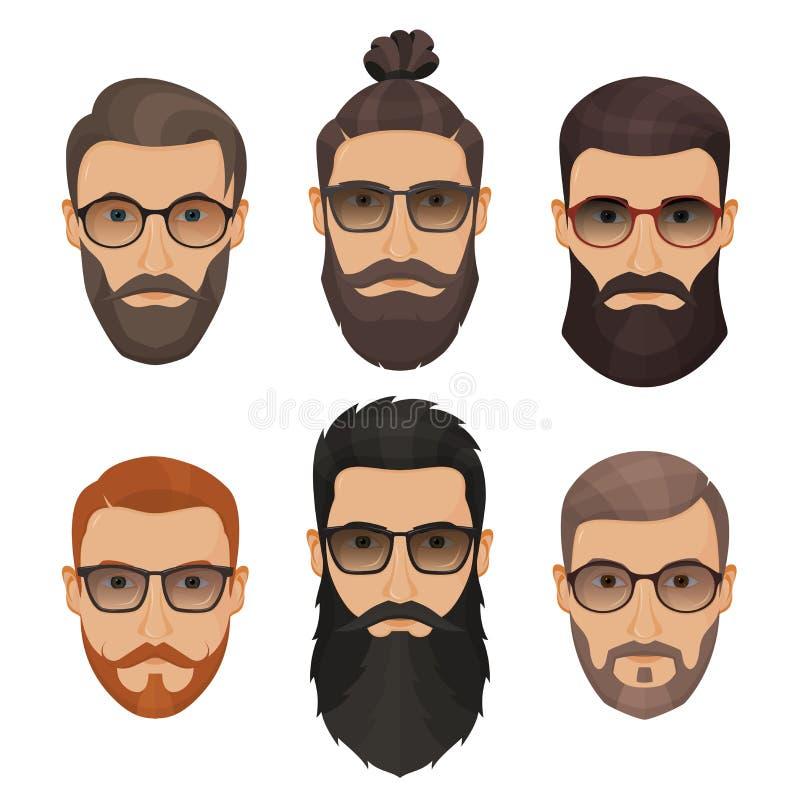 Hommes barbus de hippies avec différentes barbes de moustaches de coiffures illustration libre de droits