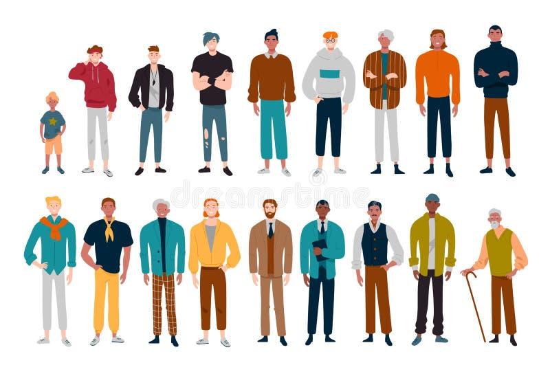 Hommes, beaucoup de personnages masculins de différents âges illustration stock